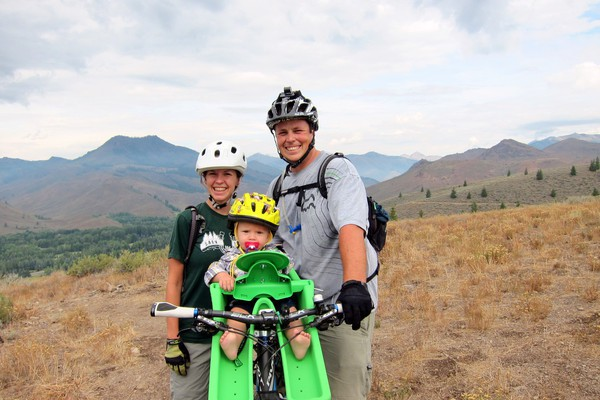 Mountain biking with a child