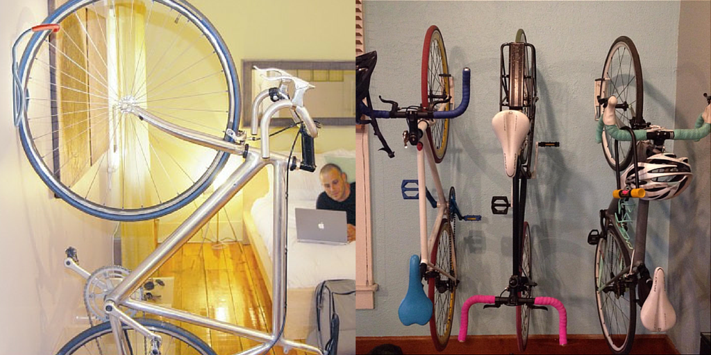 Wall mounted bike hooks