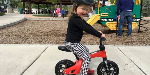 3 year old on q play balance bike