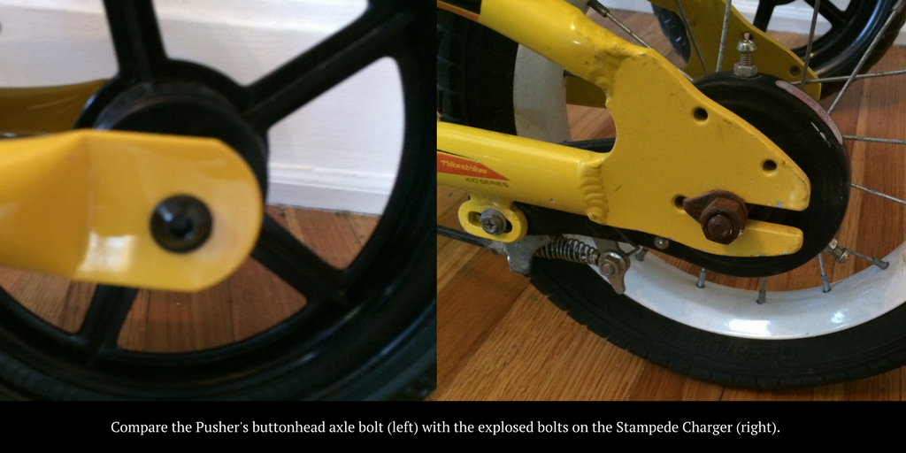 Compare the Pusher's buttonhead axle bolt (left) with the explosed bolts on the Stampede Charger (right)
