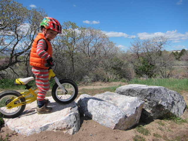 balance bike on rocks