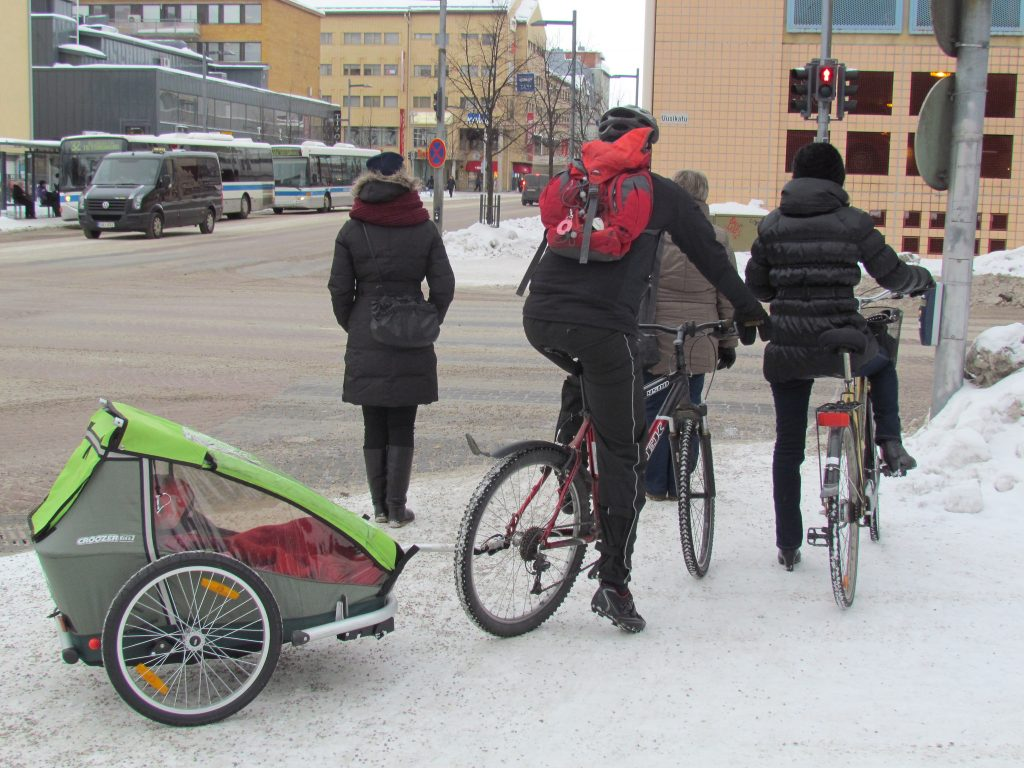 winter biking with kids