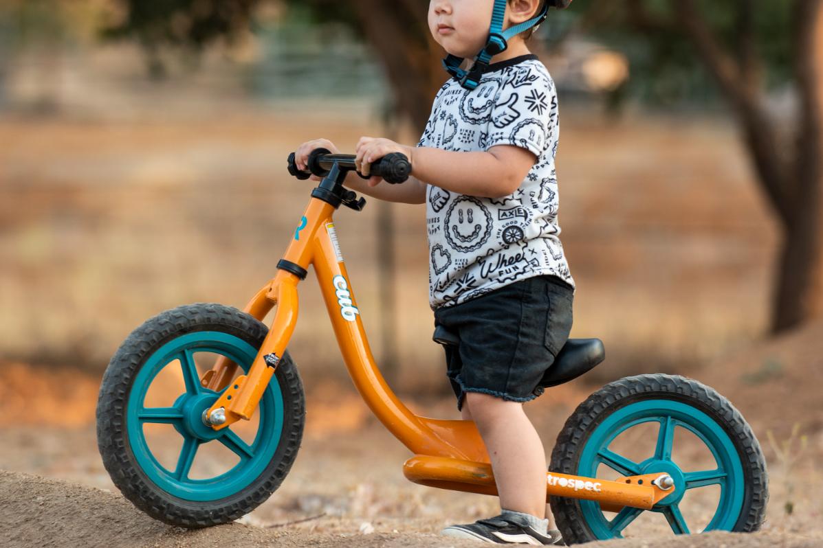 cub balance bike in action