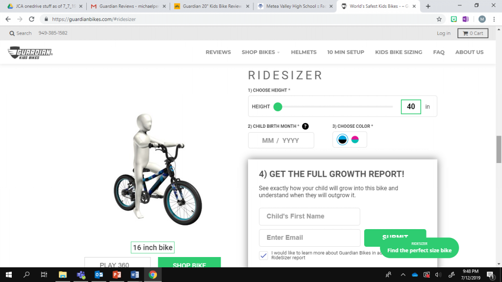 guardian ride sizer tool